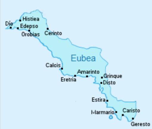 Mapa de las principales ciudades griegas perdidas de la región de Eubea, al norte de Atenas, como consecuencia de la crisis del 411 a.C.