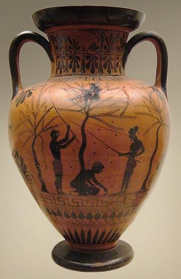 Ánfora representando el trabajo más frecuente de la esclavitud en la antigua Grecia: las faenas agrícolas