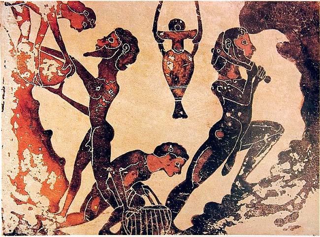 Fresco en el que se representa a esclavos trabajando en una mina