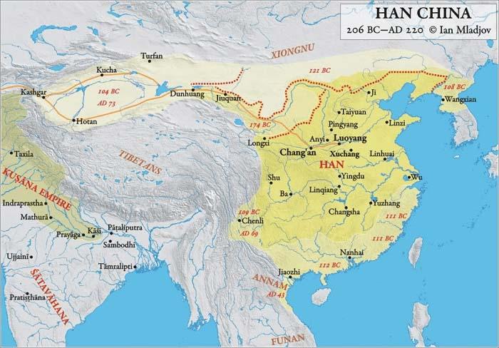 Mapa de China durante el Imperio Han, durante el cual se originó la Ruta de la Seda (202 a.C. – 220 d.C.)