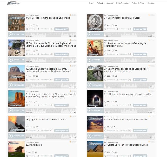 Captura de pantalla de la web del programa de podcasts Plaza de Armas