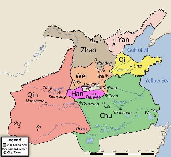 Mapa de la China del periodo de los reinos combatientes