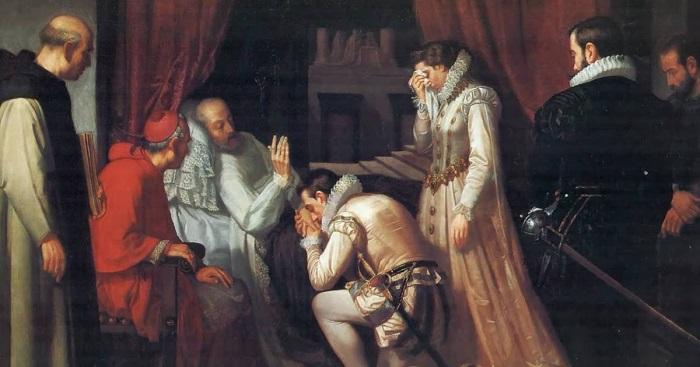Cuadro sobre los momentos previos a la muerte de Felipe II