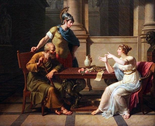 El debate entre Sócrates y Aspasia, hecho por Nicolas-André Monsiau en el s. XVIII