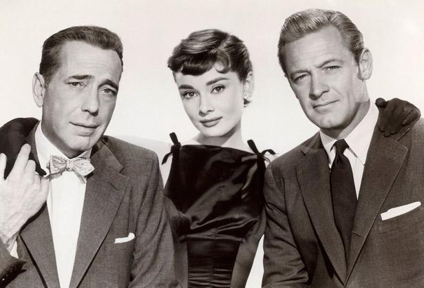"Audrey Hepburn, Humphrey Bogart y William Holden en ""Sabrina"""
