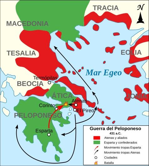Mapa de los comienzos de la Guerra arquidámica, la primera de las fases de la Guerra del Peloponeso