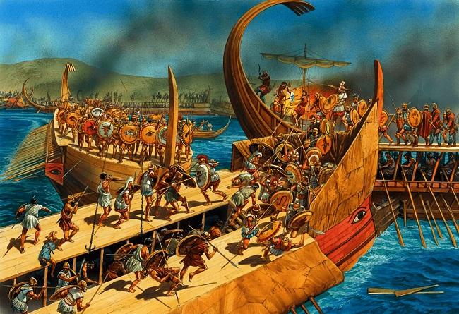 Ilustración de una batalla naval durante la gran expedición a Sicilia (Arrecaballo)