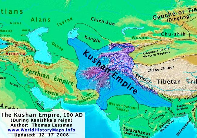 Mapa de Partia y Kushan hacia el año 100