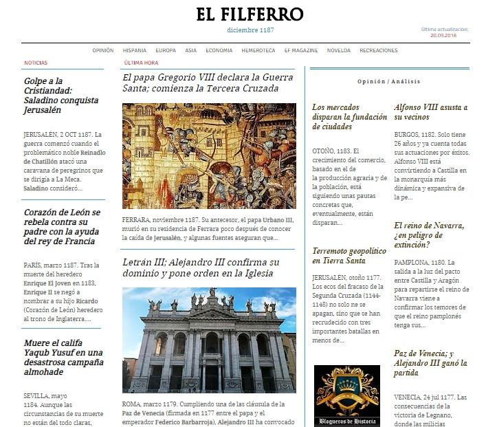 Captura de pantalla de la web El Filferro