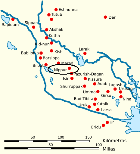 Mapa de la Baja Mesopotamia en el que se señala dónde estaba la biblioteca de Nippur