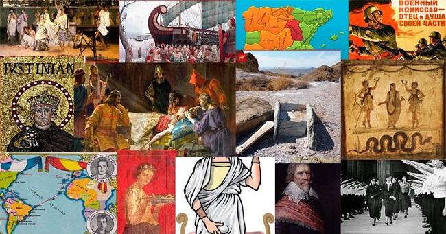 Collage formado por imágenes de los artículos que componen el nº2 de la revista Histórica (Caminando por la Historia)
