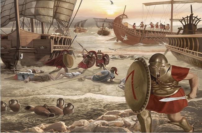 Otra de las ilustraciones sobre la batalla de Egospótamos, clave en la rendición de Atenas (Arrecaballo)