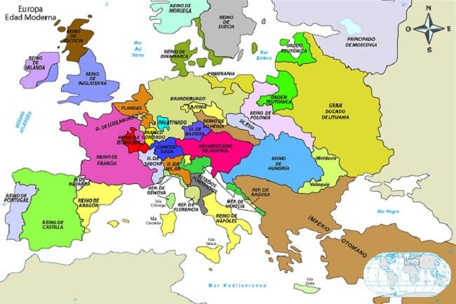 Mapa que muestra en Europa las fronteras de la política en la Edad Moderna naciente