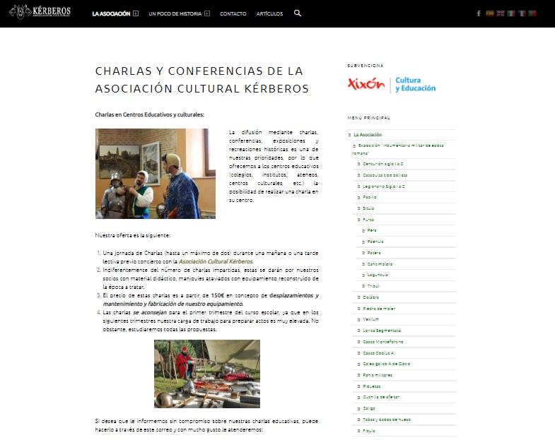 Captura de pantalla de la web de la asociación Kérberos, ejemplo de la recreación histórica