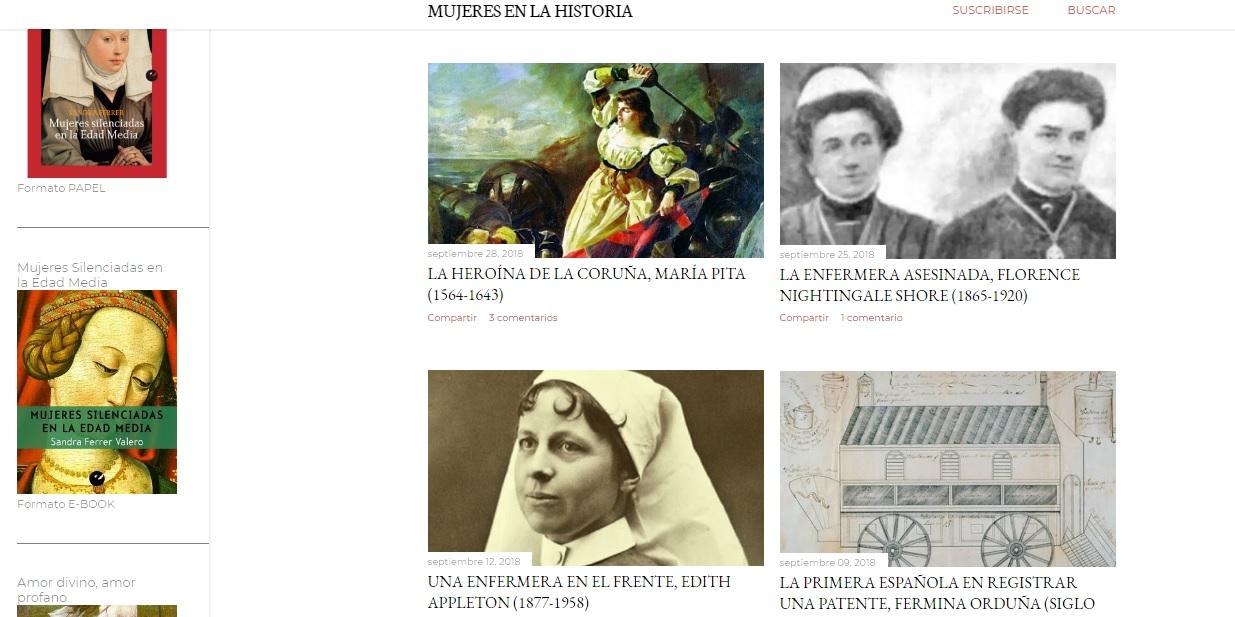 Captura de pantalla del blog Mujeres en la Historia