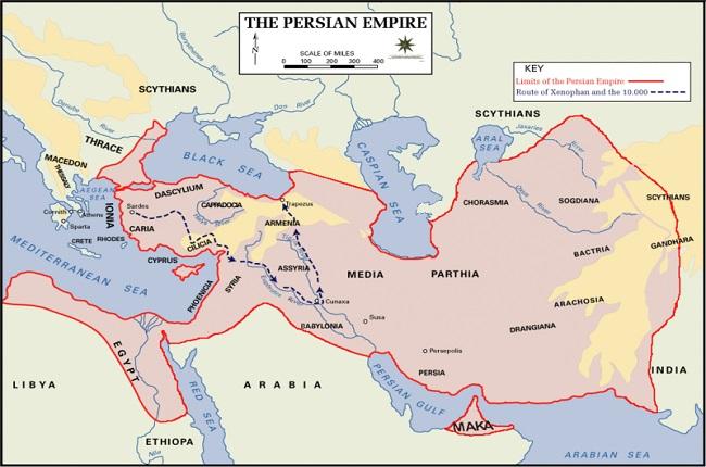 Mapa del Imperio Persa en el que se distingue la ruta seguida por la Expedición de los Diez Mil