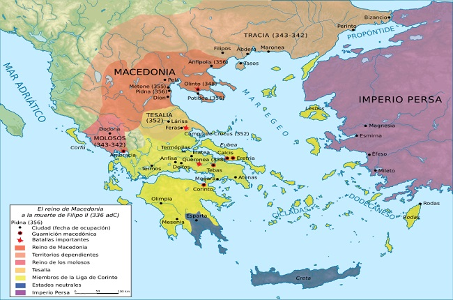 Mapa del mundo griego después del asesinato de Filipo II de Macedonia, en el 336 aC