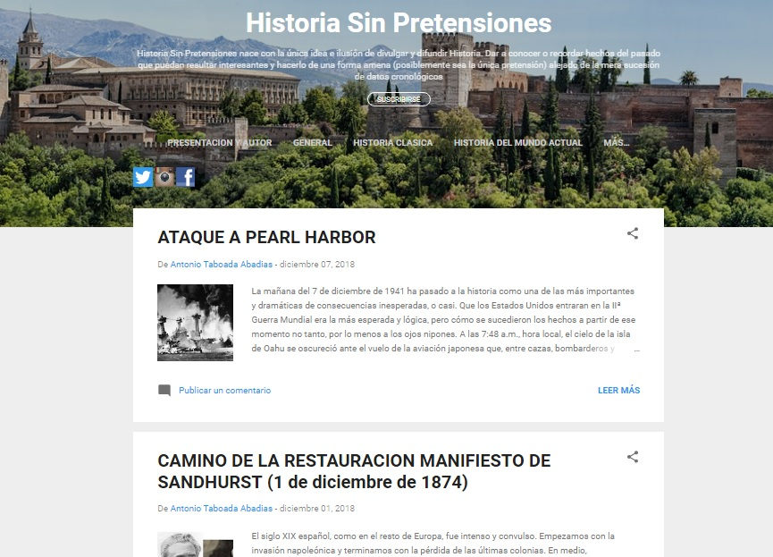 Captura de pantalla del blog Historia sin pretensiones