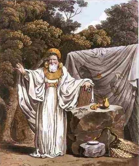 Uno de los druidas idealizado con varios símbolos paganos de la sabiduría y sus funciones