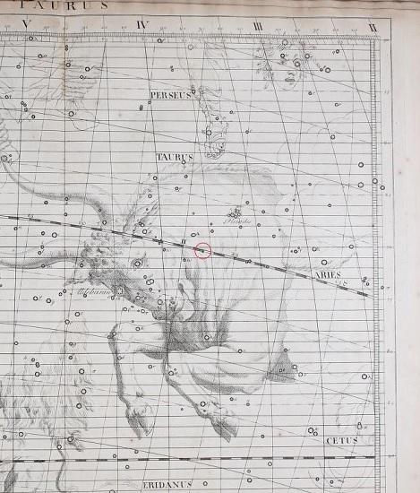 El planeta Urano señalado en un círculo rojo en el atlas de Flamsteed de 1729