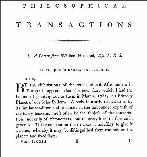 Fragmento de la carta de William Herschel a Joseph Banks en el que notifica que lo descubierto en 1781 es un planeta, el planeta Urano
