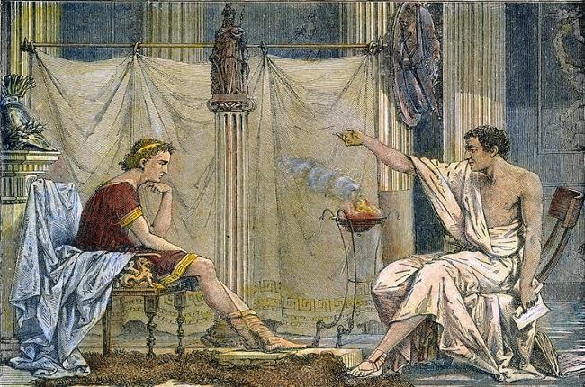 Ilustración del siglo XIX que muestra a Aristóteles, maestro de la infancia de Alejandro Magno
