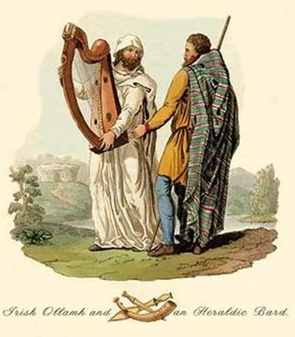 Irish Ollamh and an Heraldic Bard Mientras los bardos eran más cercanos al común, los vates eran poetas cortesanos cuya máxima figura era el Ollamh