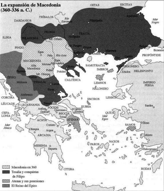 Mapa del mundo griego entre el 360 y el 336 a.C., destacando el reino de Macedonia