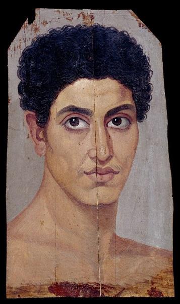 Uno de los retratos de El Fayum del periodo romano, de un joven desnudo con el pelo rizado