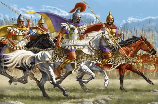 Ilustración que recrea a Filipo II de Macedonia durante la Batalla de Queronea (Arrecaballo)