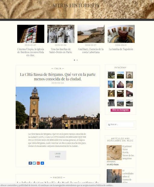 Captura de pantalla de la web Sitios Históricos