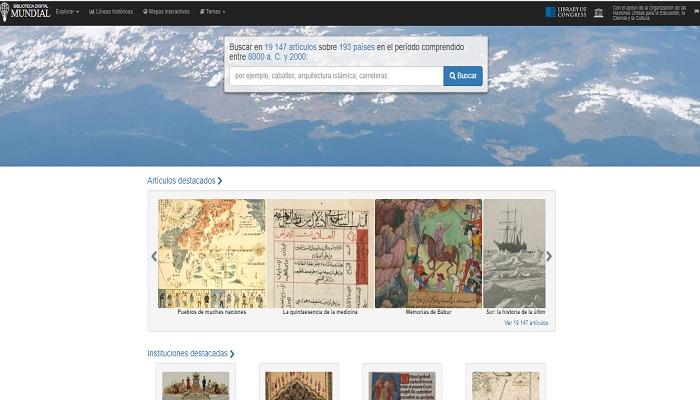 Captura de pantalla de la página de bienvenida de la biblioteca digital mundial