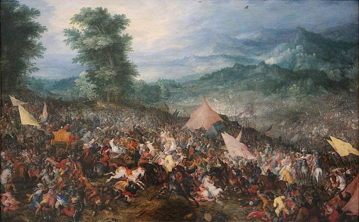 La Batalla de Issos por Jan Brueghel el Viejo, en el Museo del Louvre 1602