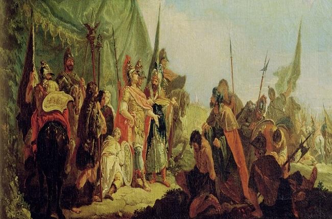 """""""Alejandro y Poro"""", obra de Francesco Fontebasso. Poro fue el mayor enemigo de Alejandro Magno en la India"""