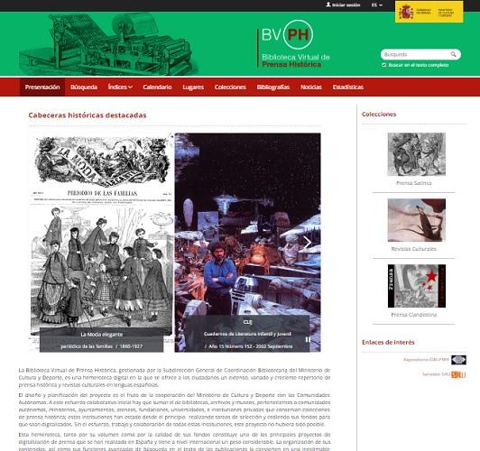 Captura de pantalla de la web de la Biblioteca Virtual de la Prensa Histórica