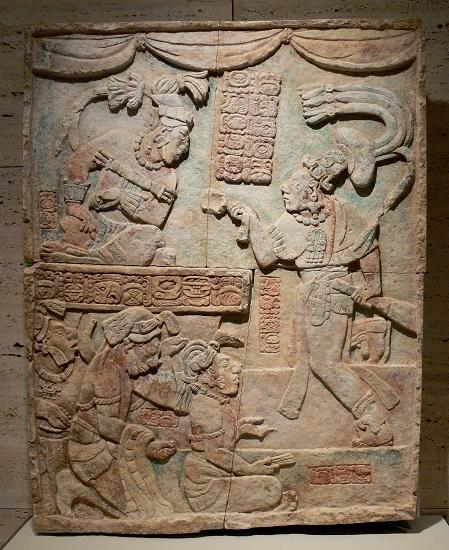 Escultura del periodo Clásico, que muestra el sajal Aj Chak Maax