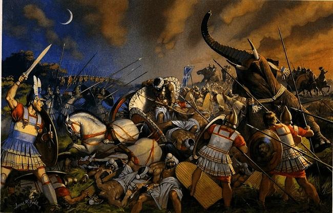 Ilustración de la batalla del Hidaspes (Arrecaballo)
