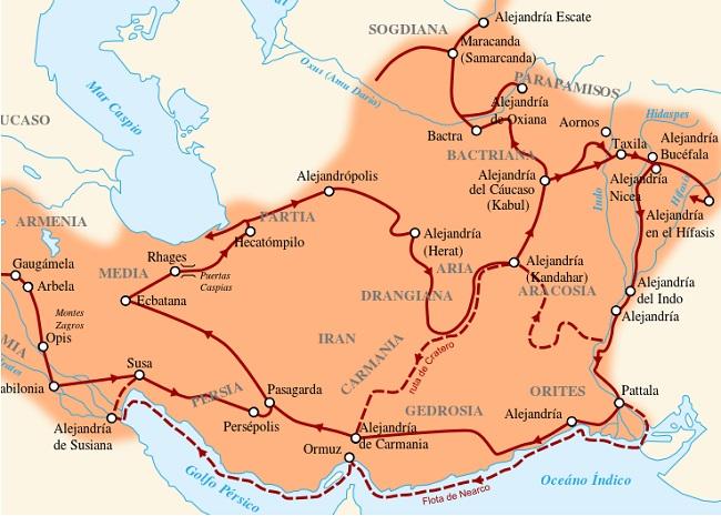 Mapa en detalle de las campañas de Alejandro Magno en la India y otros territorios orientales