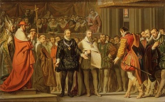 Retrato sobre la firma de la Paz de Vervins, que acabó las guerras de religión