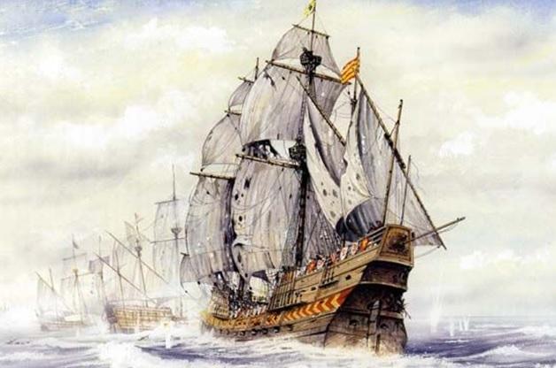 Galeón español San Mateo en la batalla de la isla Terceira en 1582. Dibujo de Tony Bryan