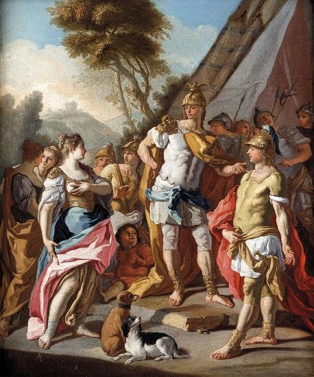 Hefestión señala a Alejandro ante él la familia de Darío, prisionera en Gaugamela. Óleo del siglo XVIII