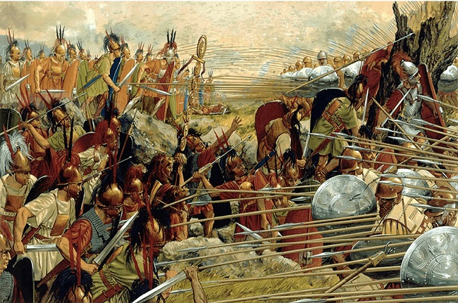 Ilustración que recrea la batalla de Pidna, que acabó con Macedonia, uno de los reinos helenísticos