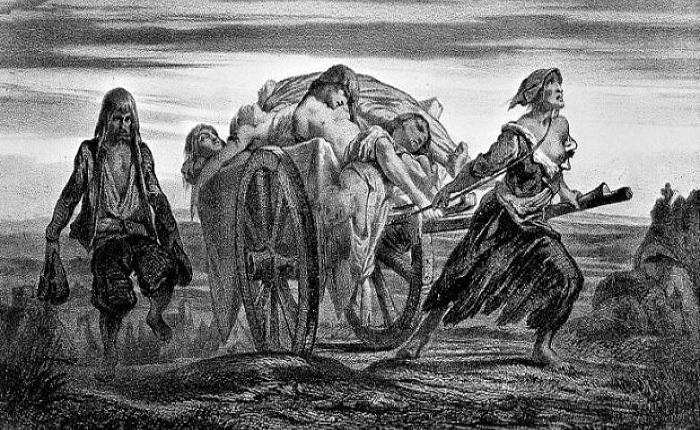 Litografía de Moynet en el que se ve un carro cargado con víctimas de la peste negra