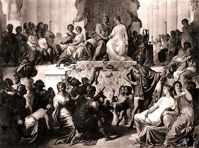 Grabado del siglo XIX sobre las Bodas de Susa, en el que Estatira y Parisatis se convirtieron en las esposas de Alejandro Magno