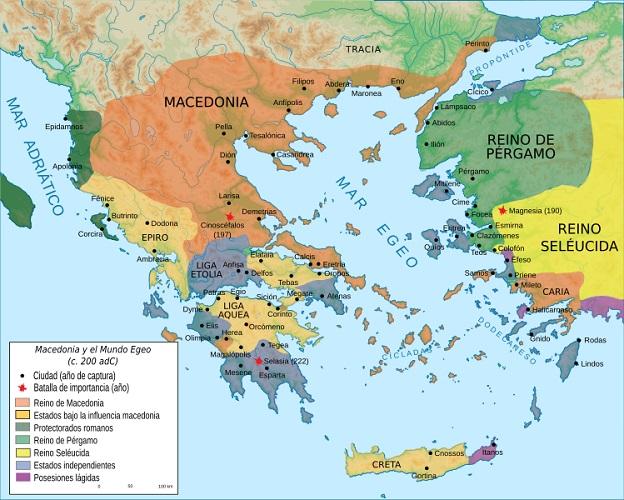 Mapa del mundo griego a finales del siglo III a.C.