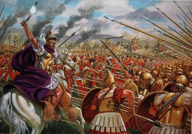 Ilustración que reconstruye la batalla de Asculum, uno de los grandes momentos de esta cronología de la antigua Roma