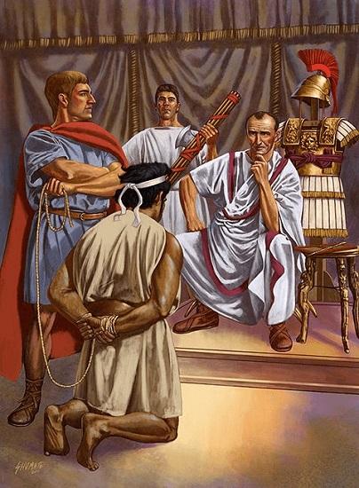 Ilustración que recrea a Yugurta ante Cayo Mario, momento clave de la cronología de la antigua Roma