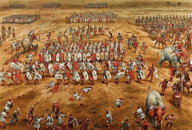 Ilustración que recrea la batalla de Zama, momento clave de la cronología de la antigua Roma