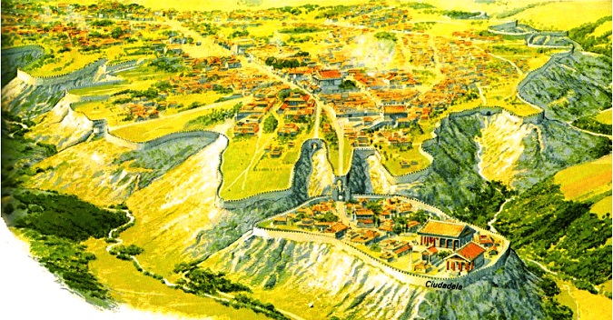 Reconstrucción de la ciudad de Veyes hacia el año 400 a.C., momento clave de la cronología de la antigua Roma