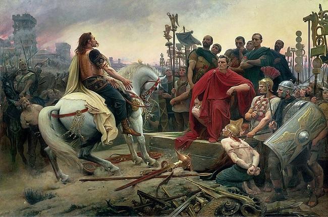 Vercingétorix arroja sus armas a los pies de Julio César por Lionel Noel Royer (1899)